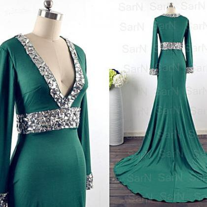 Green Jersey Evening Dresses, Long Sleeves V neck Long Green Mermaid Evening Gown, Long Sleeves with Crystals Formal Dresses