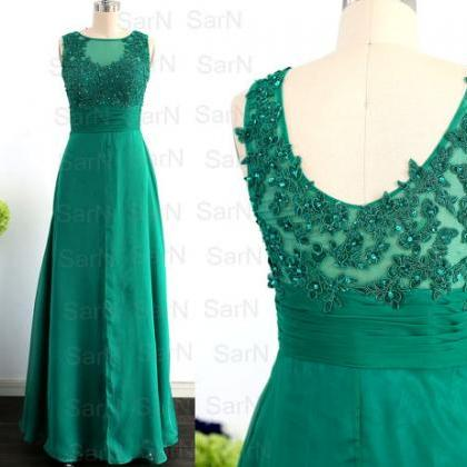 Green Long Prom Dresses, Custom Straps Green Lace Chiffon Formal Dresses, Long Green Prom Gown, Lace Straps Formal Gown
