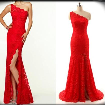 Sexy One-Shoulder Red Prom Dress,Split Lace Prom Dress'Mermaid Prom Dress,Beaded Prom Dress,Long Prom Dress,Party Gowns