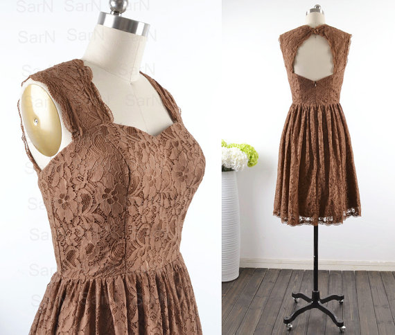 Short lace bridesmaid dresses custom straps lace for Brown lace wedding dress